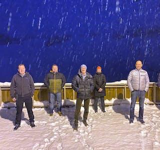 Interimstyret for Folkeheisen-prosjektet. Frå venstre: Asbjørn Birkeland (Sauda kommune), Atle Wigum (hytterepresentant), Jan Alne (leiar), Vibecke Håheim (Sauda IL), Ove Ness Øye (initiativtakar, næringsliv) og Andreas Fløgstad (Sauda Vekst og Sauda skisenter). Jorunn Øye, som er grunneigarrepresentant, var ikkje til stades då bildet blei tatt.