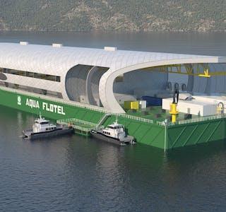 Det nederlandske selskapet Albatros Technology ønsker å plassere ein slik lekter i Saudafjorden for å drive lakseoppdrett.