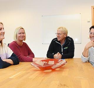 Irene Lien Bakke (frå venstre), Elin Lien Bakke, Egil Bakke og Eva Kristine Lien i Effektivt Renhold Haugaland flytta hovudkontoret inn i nye lokale på Birkeland hausten 2019.