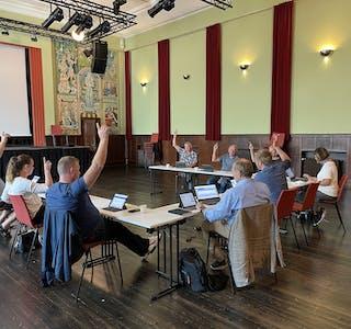 Utval for samfunnsutvikling vil ha minigolfanlegg ved Andedammen. Dei som stemte var: Per Aksel Birkeland (Sp), Silje Eriksen (Sp), Knut Morten Ask (Sp), Kristian Landro (KrF), Aud Jorunn Nymark (Ap), Hallgeir Amdal (Ap) og Dagfinn Birkeland (H).