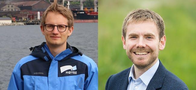 Det ligg an til kamp om stortingsplassen mellom Tom Kalsås (Ap) til høgre og Aleksander Stokkebø (H). I den siste meiningsmålinga ligg Kalsås eitt prosentpoeng foran.